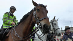 Mounted Police, Horse Guards Parade, London, UK. Stock Footage