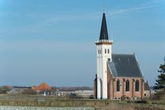 Church at the dutch island texel Stock Photos