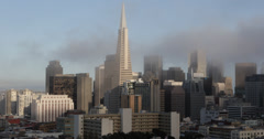 Ultra HD 4K Transamerica Pyramid, San Francisco Downtown Skyline Aerial, Foggy Stock Footage