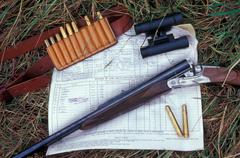 Big game express rifle and African hunting permit Stock Photos