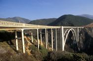 Stock Photo of Usa California Big Sur, Bixby Creek Bridge and Highway One