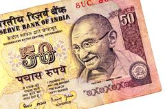 Gandhi on 50 rupees banknote from India. - stock photo