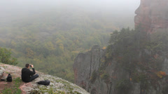 Tourist in the mountains Stock Footage