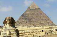 Stock Photo of Egypt,Giza, the Sphinx and the Great Pyramid