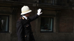 Rome traffic police conductor 2 Stock Footage