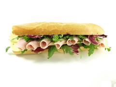 Tasty, big sandwich with ham for snack Stock Photos