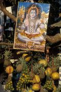 Nepal, Hindu goddes and offers - stock photo