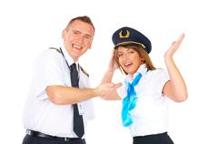 happy flight crew - stock photo