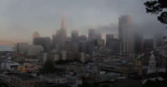 Ultra HD 4K UHD San Francisco Financial District Aerial, Foggy Day Sunset Stock Footage
