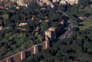 Stock Photo of Italy, Rome, aerial view of city walls