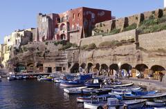 Lazio, Ventotene island, the harbour shops - stock photo