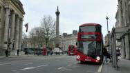 "Stock Video Footage of No 9 ""Borismaster"" London Bus in Trafalgar Square, London, UK."