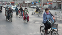 China Beijing, Bikes on old street Stock Footage