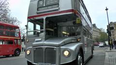 London bus in Trafalgar Square, London, UK. Stock Footage