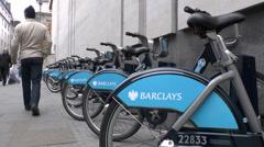 A line of Boris Bikes in London, UK. Stock Footage