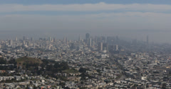Ultra HD 4K UHD Pan Left Downtown Cityscape from Above San Francisco Bay Skyline Stock Footage