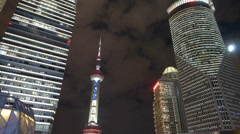 Shanghai lujiazui economy center skyscraper & orient pearl TV tower at night. Stock Footage