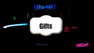 Stock Video Footage of High Tech Gifts, Promotional Animation (Looping)