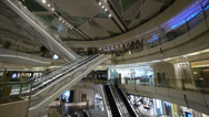 Stock Video Footage of Shopping mall Escalator,shanghai china,ultra wide angle lens.