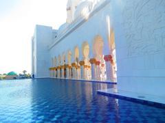 Water pound Abu Dabi Grand mosque Stock Photos