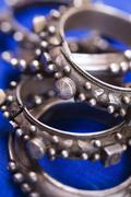 Detail of antique silver bracelets at Chinguett antique shop in Rue Rahba - stock photo
