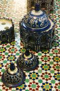 Morocco, hand made vases at Poterie de Fes 32 Ain Nokbi Route Sidi Harazem-Fes - stock photo