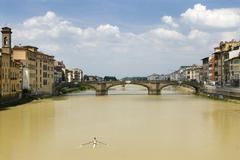 Italy, Tuscany, Florence, Canoeing on Arno river Stock Photos
