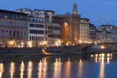 Italy, Tuscany, Florence, Arno river, View of Lungarno Corsini - stock photo