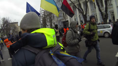 Strike in Ukraine - preparation for the march of the strikers. Stock Footage
