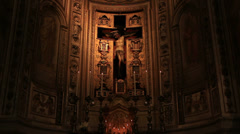 Ancient crucifix in Roman church Stock Footage