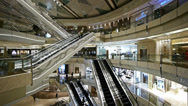 Stock Video Footage of time lapse,Shopping mall Escalator,shanghai china,ultra wide angle lens.