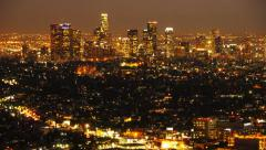 Downtown Los Angeles Skyline Twilight Time Lapse -Tilt Down- - stock footage