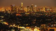 Downtown Los Angeles Skyline Twilight Time Lapse -Tilt Down- Stock Footage