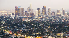 Downtown Los Angeles Skyline Twilight Time Lapse -Pan Right- Stock Footage