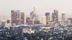 Downtown Los Angeles Skyline Twilight Time Lapse -Zoom Out- Stock Footage