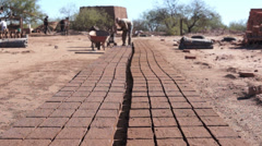 Adobe Brick Making Far Dolly - stock footage