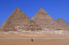 Egypt, Cairo. Giza Pyramids, Cheops,Chepren and Mycerinus - stock photo