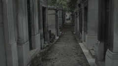 Paris cemetery gravestones dolly shot (Pere Lachaise) Stock Footage