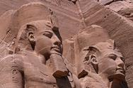 Stock Photo of Egypt, Abu Simbel, Great Temple of Rameses II, two of the four statues of