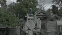 Grave of Karl Daubigny moving shot (Pere Lachaise) Stock Footage