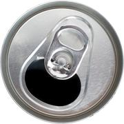 top view of an open silver soda pop can - stock photo