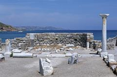 Greece, Archipelago Dodecanneso, ruins of the St. Stefano cathedral Stock Photos