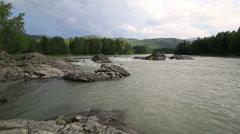 Beautiful summer landscape mountain river katun. timelapse view. Stock Footage
