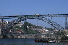 Portugal, Oporto, Dom Luis bridge over Duoro river - stock photo