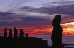 South America,Chile, Easter Island, Tahai ceremonial complex, Moai Statues - stock photo