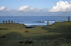 South America,Chile, Easter Island, lanscape and Moai Statue Stock Photos