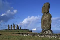 South America,Chile, Easter Island, Tahai ceremonial complex, Moai Statues, - stock photo