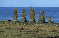 South America,Chile, Easter Island, Tahai ceremonial complex, Moai Statues - stock photo