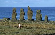 Stock Photo of South America,Chile, Easter Island, Tahai ceremonial complex, Moai Statues