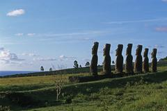 South America,Chile, Easter Island, Moai Statues, lanscape Stock Photos